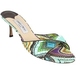 Jimmy Choo London Multicolor Fabric Heels Open Toe